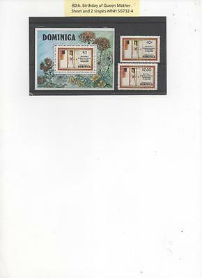 Dominica1980 set of 2stamps and Souvenir Sheet for Queen Mother's Birthday MNH