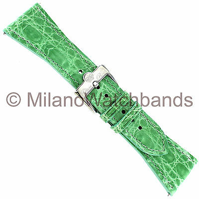 26mm Glam Rock High Quality Hand Made Light Green Genuine Crocodile Watch Band