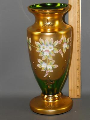 Czech Bohemian Egermann Gold High Enamel Green Crystal Art Glass Vase