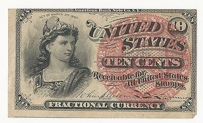 1863 10 Cent Fractional Currency 4th Issue (ERROR-Border) ~ Great Condition