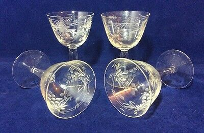 4 Vintage 1950's Small Wine Glasses Goblets Engraved Etched Cut Glass Grape Vine