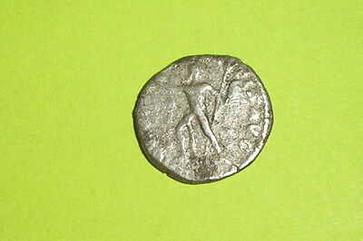 RARE Ancient ROMAN SILVER COIN legionary standard COMMODUS fides military tool
