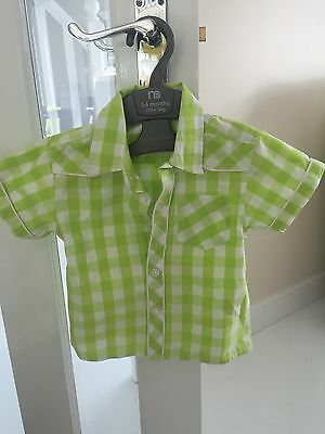 Lime Green Checked Shirt 9-12 Months BNWT