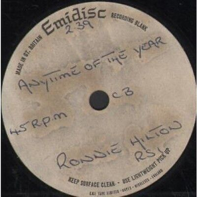 """RONNIE HILTON Anytime Of The Year 7"""" VINYL 1 Track 1-Sided Acetate With"""