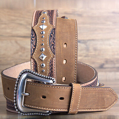 """36"""" Brighton Basketweave Tooled The Bayfield 1 1/2"""" Mens Leather Tooled Tan"""