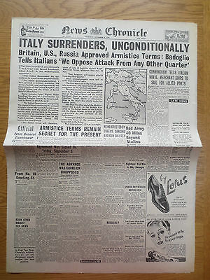WW2 Newspaper September 9 1943 Italy surrenders News Chronicle BIRTH DATE War
