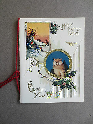 VINTAGE Christmas Card Embossed Snowy Cottage Scene Wise Old Owl & Holly 1930