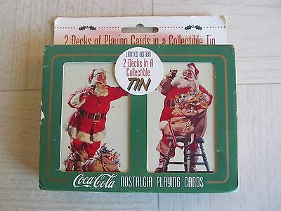 Coca Cola Christmas Playing Cards In Tin Sealed 1995 Limited Edition
