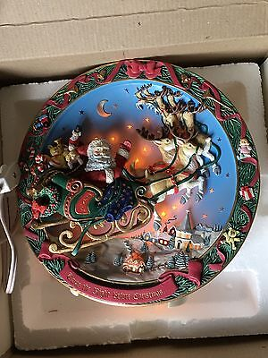 "The Bradford Exchange ""A Visit From Saint Nick"" Collectors Light Up Plate + Box"