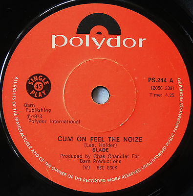 Slade-Very Rare Rhodesia-45-Cum On Feel The Noize /i'm Mee I'm Now An That's Orl