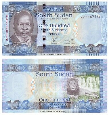 South Sudan 100 Pounds ND 2011 P-10 First Prefix 'AA' Banknotes UNC