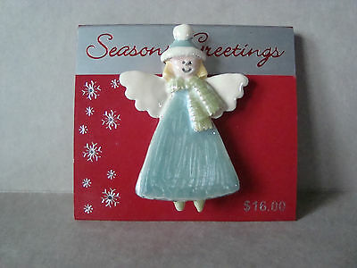 NEW 2 inch Metal Hand Painted Christmas ANGEL w/Hat & Scarf PIN