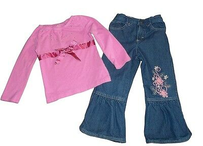 Great Condition Toddler Girls Pink  Top And Embroidered Jeans Outfit Size 4T