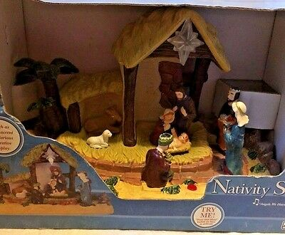 Narrated Nativity Scene Lighted & Musical Birth Of Jesus Story Gemmy Christmas