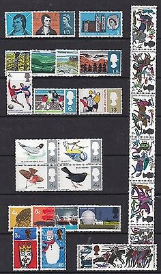Gb Great Britain 1966 Phosphor Commemoratives Complete  Never Hinged Mint
