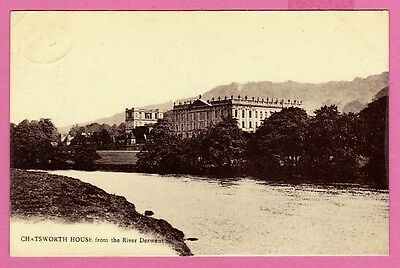 Dated 1917. Chatsworth House from the River Derwent. Derbyshire.
