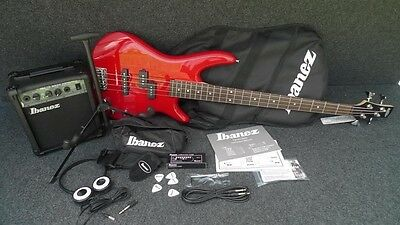 Ibanez IJXB150-RD Jumpstart KIT Complete Electric Bass Package Amp & Tuner Red