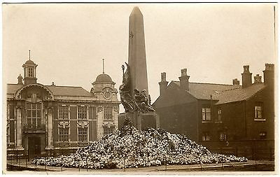 Rare Real Photo Postcard Flowers Covering War Memorial-Radcliffe-Lancashire
