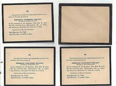 4 1926 Funeral Cards Rebecca Favinger Maloney Phoenixville, PA Morris Cemetery