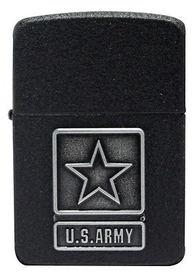 Zippo Lighter 28583 US Army Pewter Emblem 1941 Replica Black Crackle NEW
