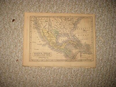 Antique 1857 Texas Republic Unusual Form No Stovepipe Mexico West Indies Map Nr