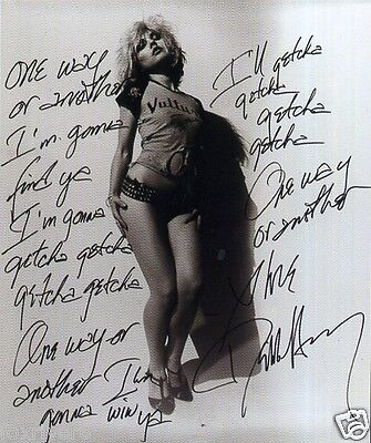 BLONDIE / DEBBIE HARRY Signed Photograph & 'One Way Or Another' Lyrics Preprint
