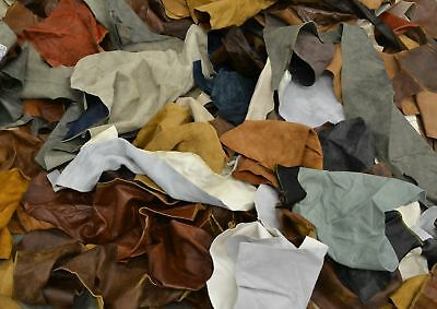 Upholstery Scrap leather 3-4 oz Rustic Cowhide 1 pound remnants color mix soft