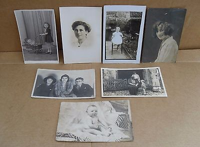 7 Vintage People Black & White Postcards Women Children Baby Harry Potter Pretty