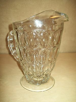 Vintage~Mid Century~Dimpled~Clear Glass~Thick~Pitcher~Tea~Water~Beer