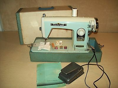 Vtg~Mid Century~Electro Grand~Sewing Machine~Works~Case~Pedal~Cambridge~160~Blue
