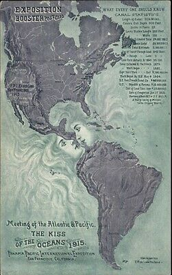 1915 Panama Paicifc Expo Booster Postcard Map Kissing Women Oceans PC