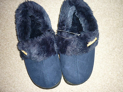 Smart New Fully Fur Lined Slippers, Navy Blue, New With Tags Size 5.