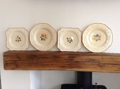Crown Ducal Gainsborough Dainty Floral Design Embossed Flower Plates X 4 England