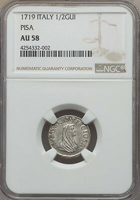 Italy / Italian States   Pisa  1719  1/2 Giulio Silver Coin, Ngc Certified Au58