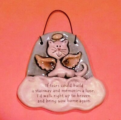 """August Ceramics Cat Memorial Plaque - """"If Tears Could Build A Stairway..."""""""
