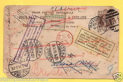 QV 1895 POSTCARD to ALTENA GERMANY, RE-DIRECTED to ALTONA,(UNDELIVERED) RETURNED