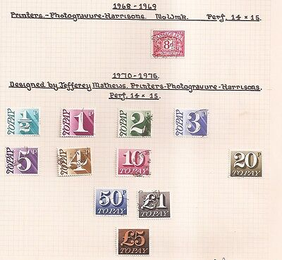 Postage Dues 1968-1975 fine used on old page, values to £5 pounds SG D89w8476