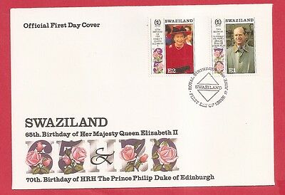 Swaziland 1991 Queens 65th Birthday FIRST DAY COVER SG 593/3 cat £4.25  w8443