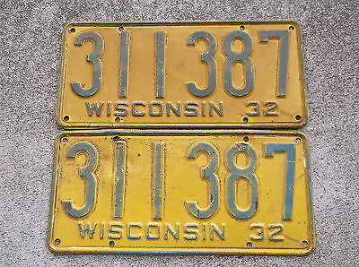 Wisconsin 1932  License Plate pair #  311 - 387