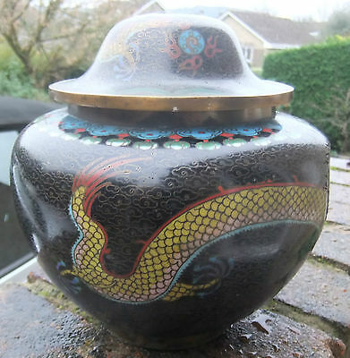 Chinese metal lidded jar-enamel coated with beautiful colourful dragons