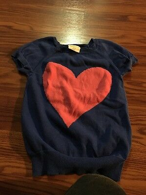 Crazy 8 Girls Sweater Size S(5-6) Color Blue W/ Pink Heart At Front
