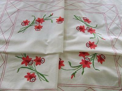 Hand Embroidered Vintage Tablecloth Red Daffodils - Crocheted Edging 134 x 128cm