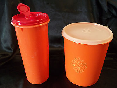 Vintage Tupperware~*1 Canister & 1 Pitcher with Lids*~orange