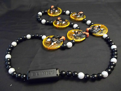 BBD Blinky~*Halloween Necklace*~Plastic Pearl Beads Witch on brooms medallions