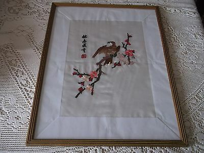 Oriental Embroidered Signed Silk, Parrot Scene