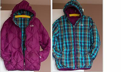 Girls The North Face reversible quilted Down Warm jacket / coat XL