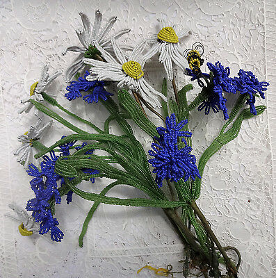 Vintage French 12 Beaded Flowers Daisies Blue Cornflowers Beaded Bumble bee
