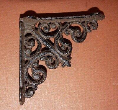 "(2)pcs SMALL CURIO SHELF BRACKETS, 4"" SHELF BRACKETS, CAST IRON, VICTORIAN, B-27"