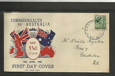 AUSTRALIA FDC FIRST DAY COVER ~ 1950 NEW ISSUE 1 1/2d QUEEN ELIZABETH