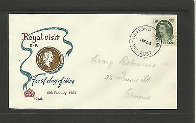 AUSTRALIA FDC FIRST DAY COVER ~ 1963 ROYAL VISIT 5d COMMEMORATIVE